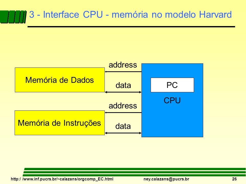 http:/ /www.inf.pucrs.br/~calazans/orgcomp_EC.html ney.calazans@pucrs.br 26 3 - Interface CPU - memória no modelo Harvard CPU PC Memória de Dados Memó