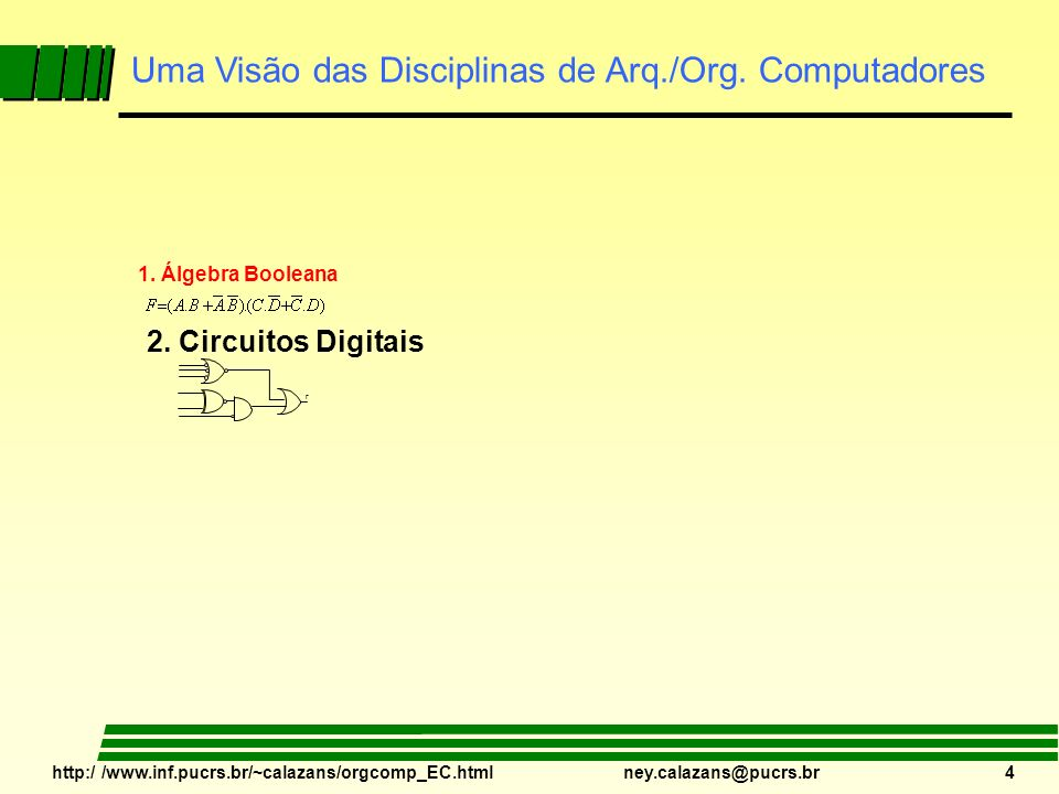 http:/ /www.inf.pucrs.br/~calazans/orgcomp_EC.html ney.calazans@pucrs.br 4 F 1. Álgebra Booleana 2. Circuitos Digitais Uma Visão das Disciplinas de Ar
