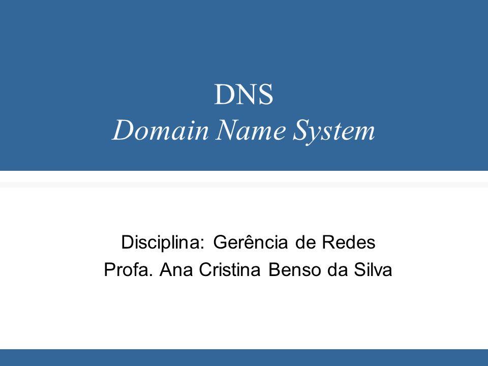 DNS Domain Name System Disciplina: Gerência de Redes Profa. Ana Cristina Benso da Silva