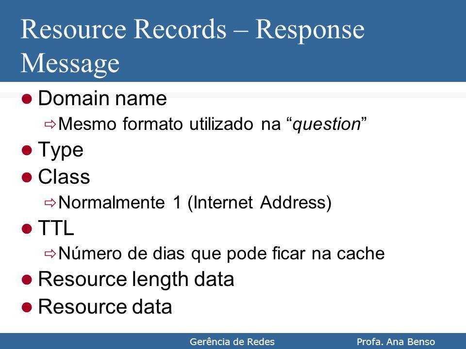 Gerência de Redes Profa. Ana Benso Resource Records – Response Message Domain name Mesmo formato utilizado na question Type Class Normalmente 1 (Inter