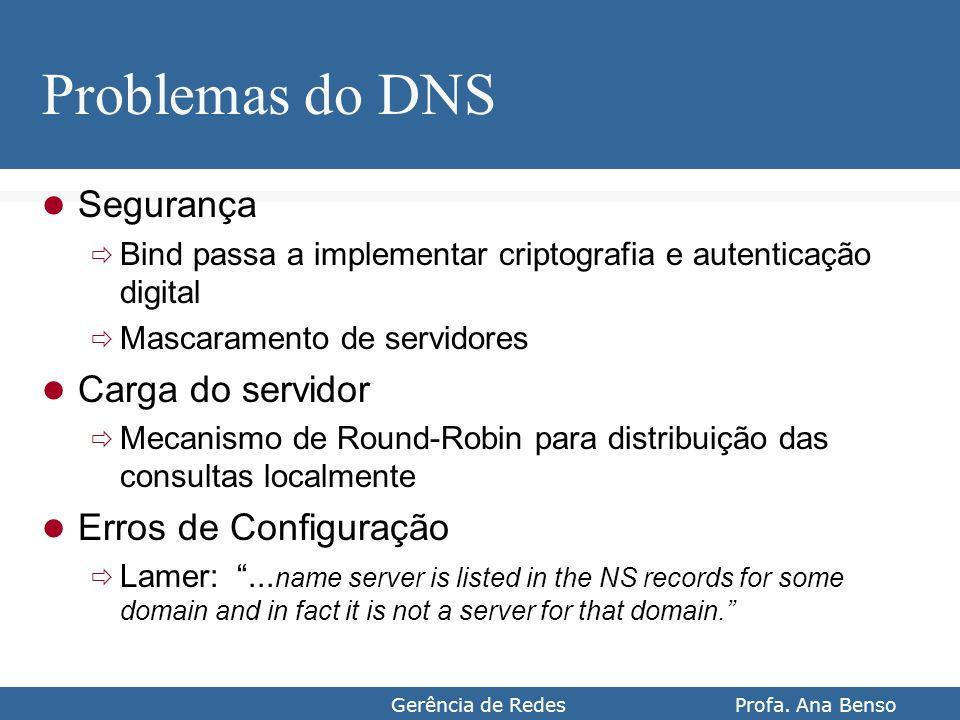 Gerência de Redes Profa. Ana Benso Problemas do DNS Segurança Bind passa a implementar criptografia e autenticação digital Mascaramento de servidores