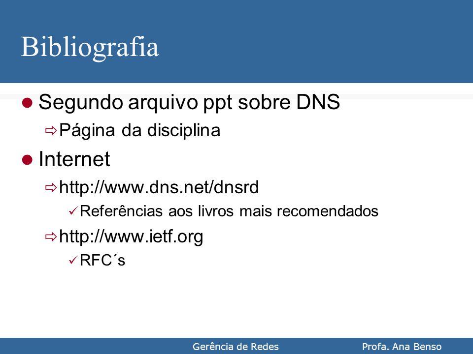 Gerência de Redes Profa. Ana Benso Bibliografia Segundo arquivo ppt sobre DNS Página da disciplina Internet http://www.dns.net/dnsrd Referências aos l