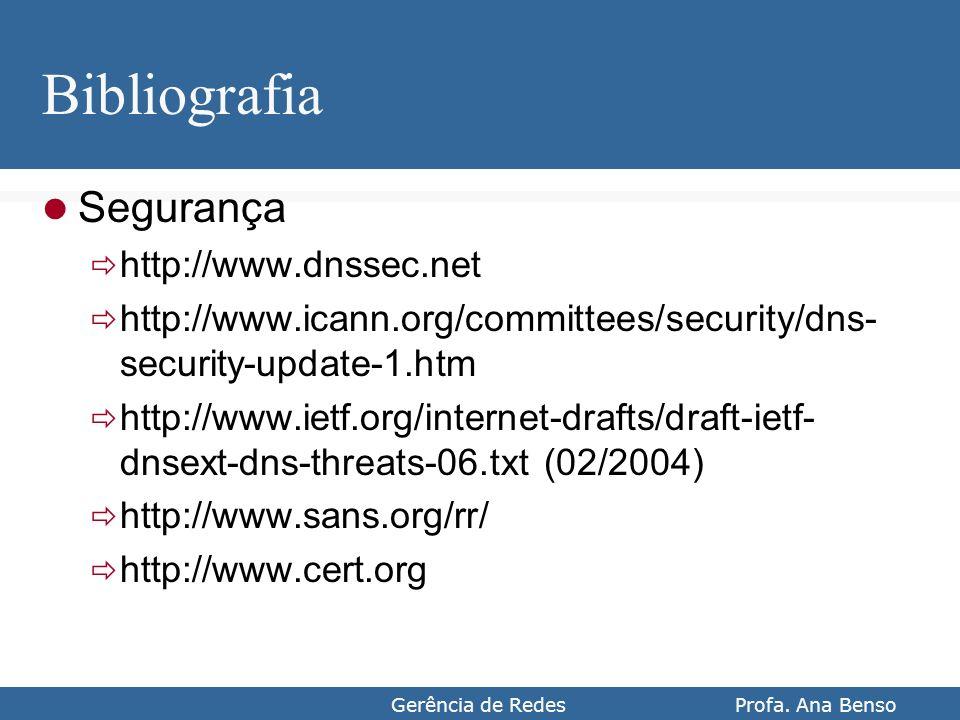 Gerência de Redes Profa. Ana Benso Bibliografia Segurança http://www.dnssec.net http://www.icann.org/committees/security/dns- security-update-1.htm ht
