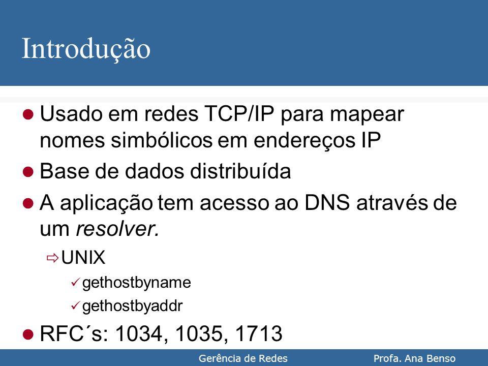 Gerência de Redes Profa. Ana Benso Introdução Usado em redes TCP/IP para mapear nomes simbólicos em endereços IP Base de dados distribuída A aplicação
