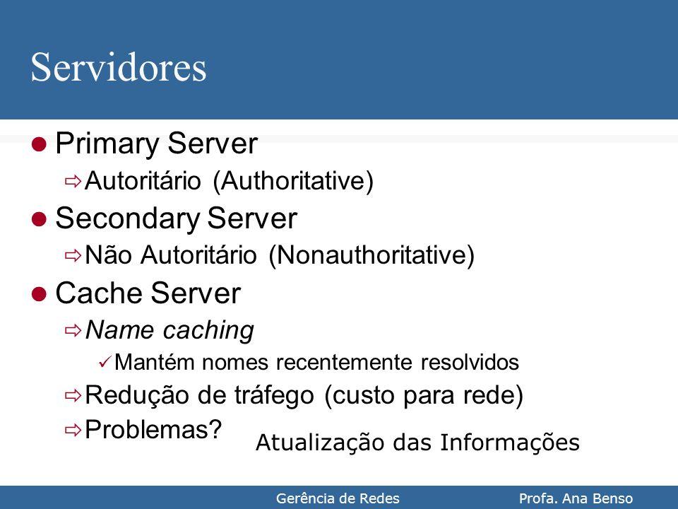 Gerência de Redes Profa. Ana Benso Servidores Primary Server Autoritário (Authoritative) Secondary Server Não Autoritário (Nonauthoritative) Cache Ser