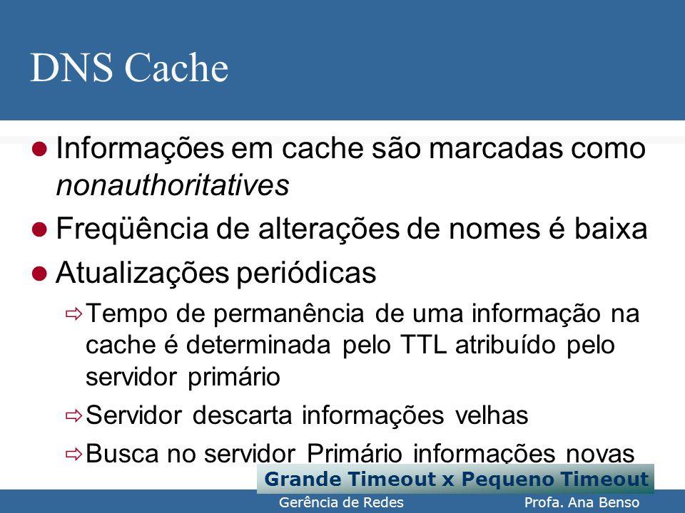 Gerência de Redes Profa. Ana Benso DNS Cache Informações em cache são marcadas como nonauthoritatives Freqüência de alterações de nomes é baixa Atuali