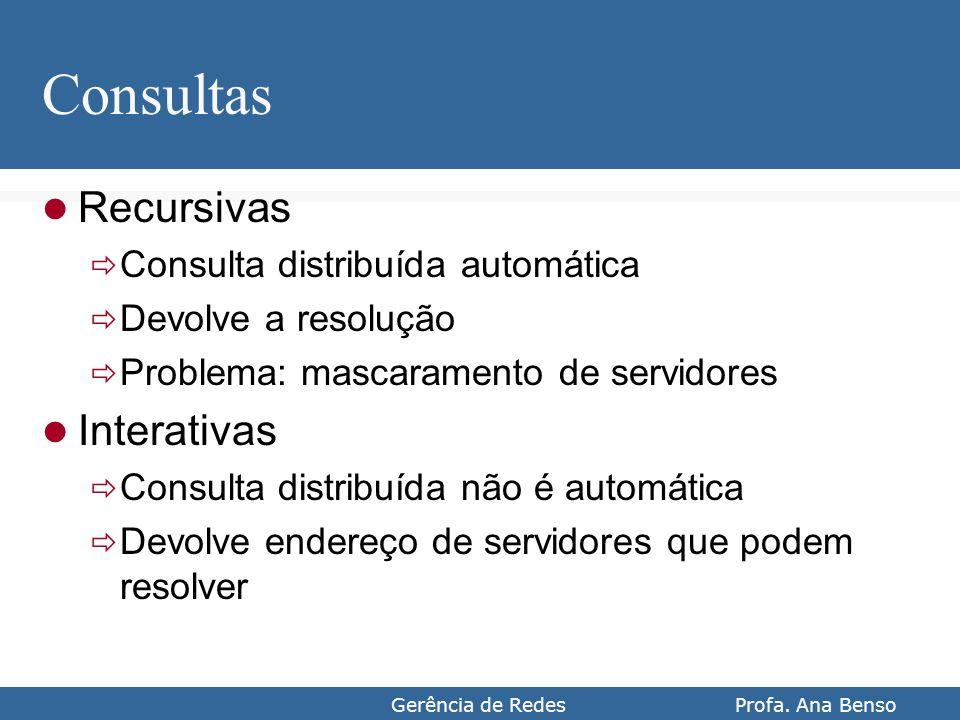 Gerência de Redes Profa. Ana Benso Consultas Recursivas Consulta distribuída automática Devolve a resolução Problema: mascaramento de servidores Inter