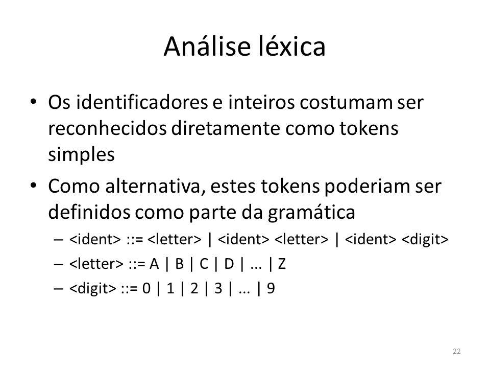 Análise léxica Os identificadores e inteiros costumam ser reconhecidos diretamente como tokens simples Como alternativa, estes tokens poderiam ser def