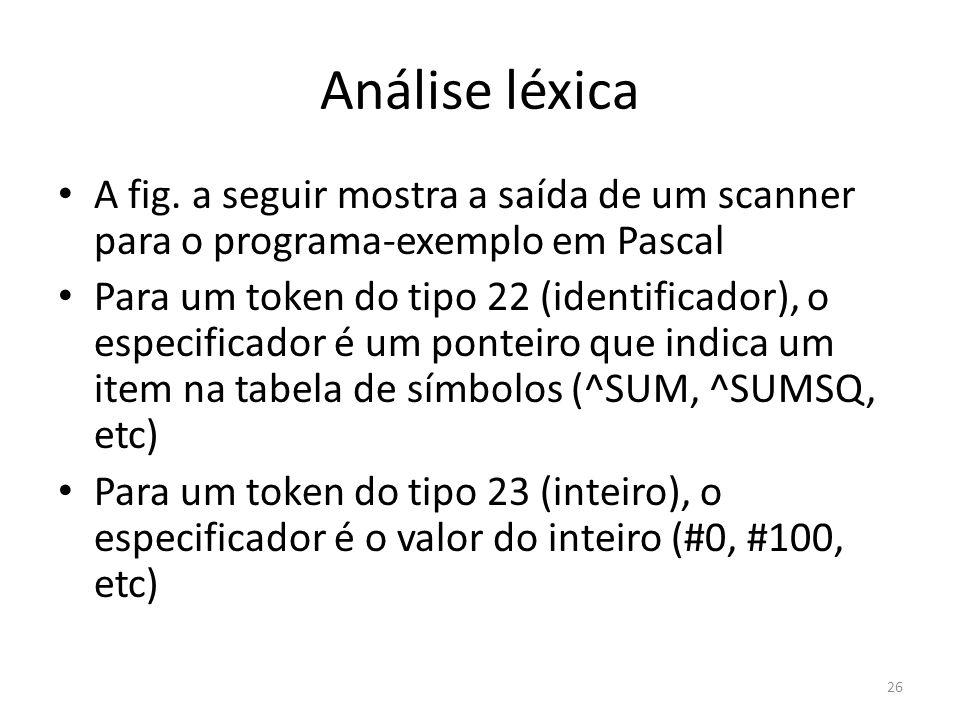 Análise léxica A fig. a seguir mostra a saída de um scanner para o programa-exemplo em Pascal Para um token do tipo 22 (identificador), o especificado