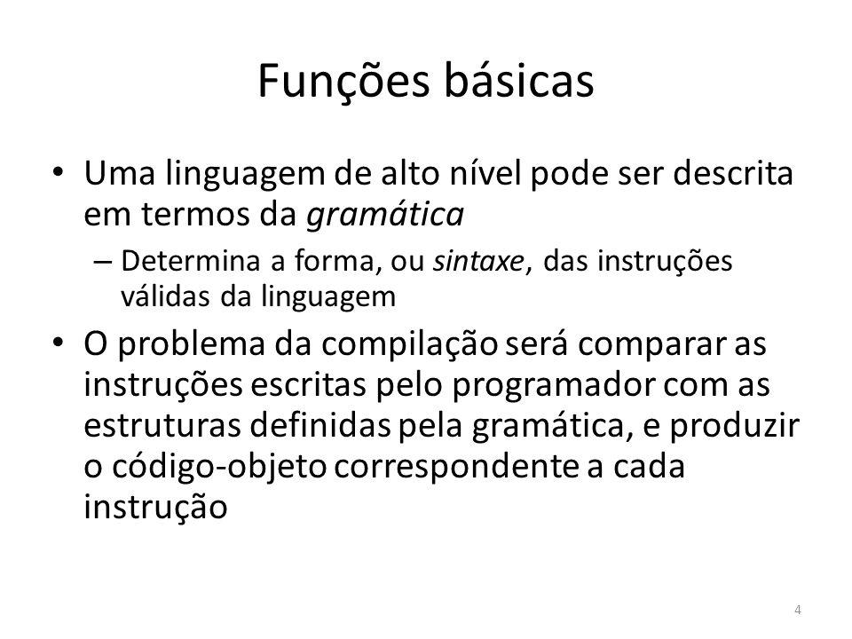 Uma linguagem de alto nível pode ser descrita em termos da gramática – Determina a forma, ou sintaxe, das instruções válidas da linguagem O problema d