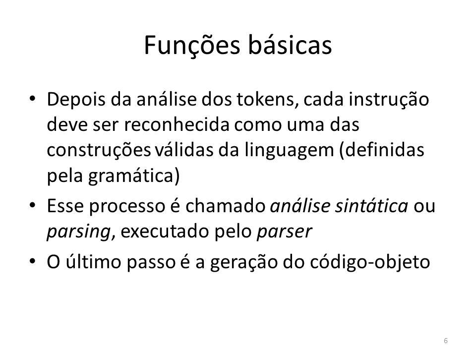 Funções básicas Depois da análise dos tokens, cada instrução deve ser reconhecida como uma das construções válidas da linguagem (definidas pela gramát