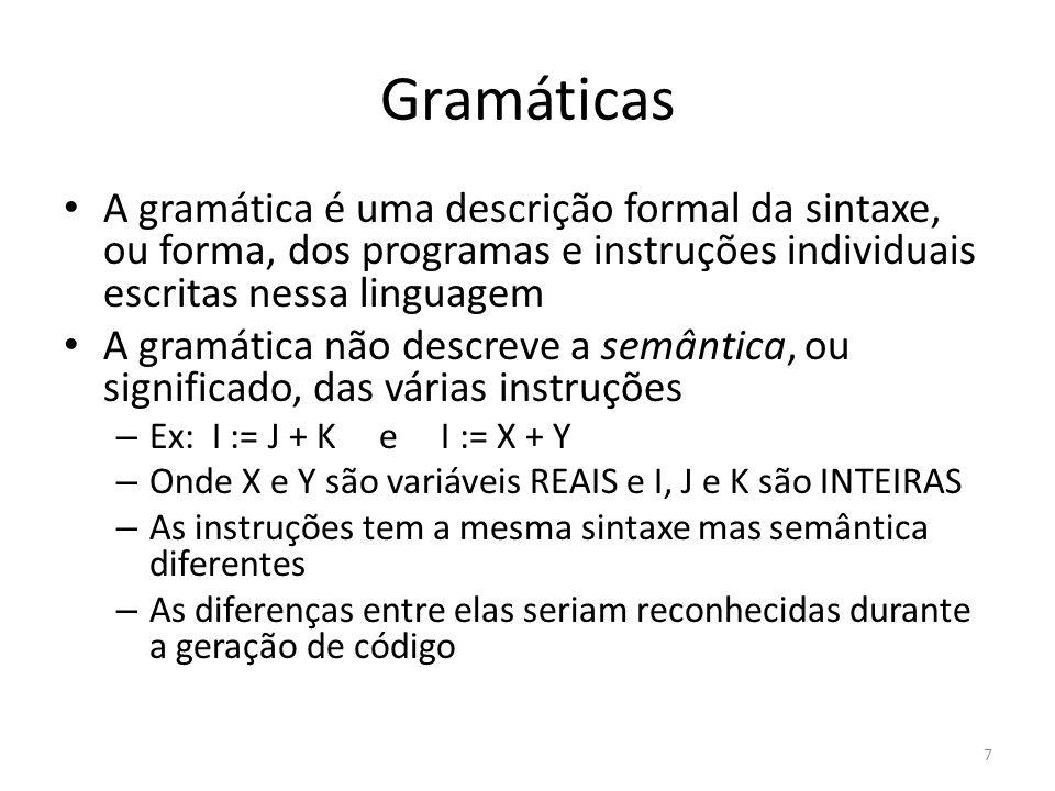 Gramáticas Várias notações podem ser usadas para definir a gramática de uma linguagem Utilizaremos a notação BNF (Backus-Naur Form) por ser simples e muito utilizada A seguir é mostrado um conjunto restrito da linguagem Pascal na notação BNF 8