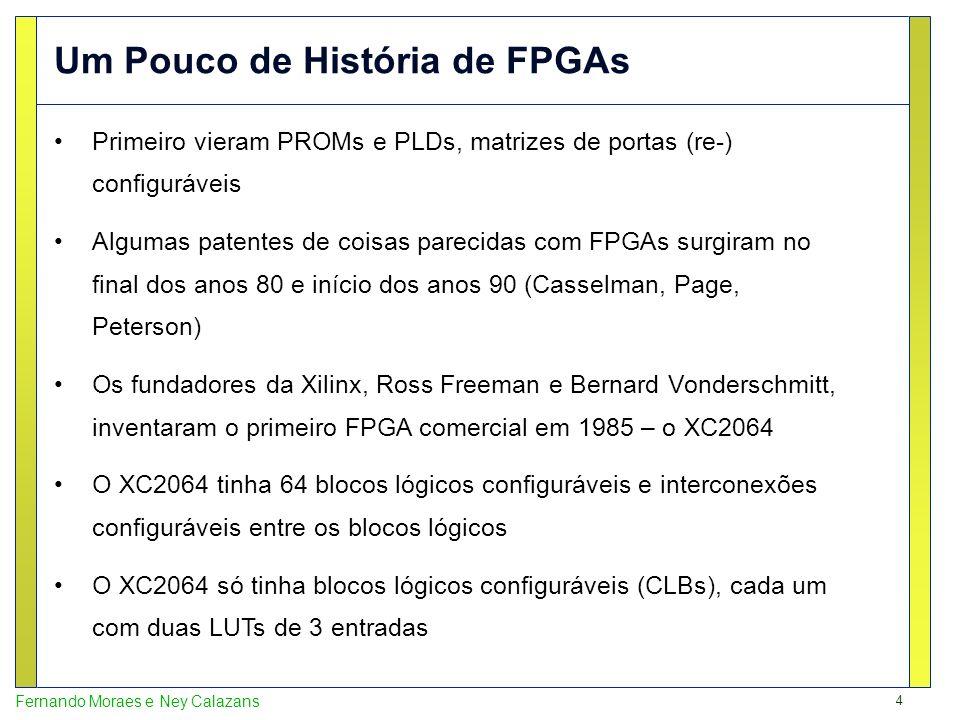 4 Fernando Moraes e Ney Calazans Primeiro vieram PROMs e PLDs, matrizes de portas (re-) configuráveis Algumas patentes de coisas parecidas com FPGAs s