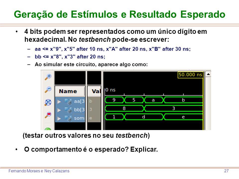 27Fernando Moraes e Ney Calazans Geração de Estímulos e Resultado Esperado 4 bits podem ser representados como um único dígito em hexadecimal. No test
