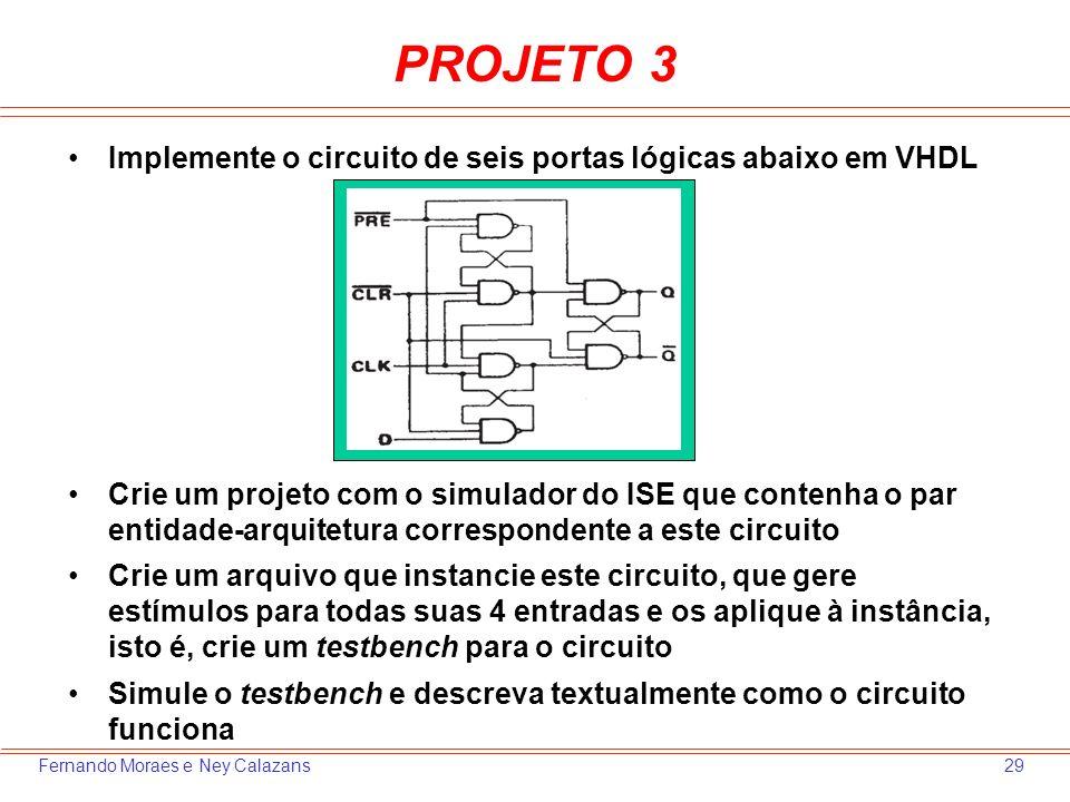 29Fernando Moraes e Ney Calazans PROJETO 3 Implemente o circuito de seis portas lógicas abaixo em VHDL Crie um projeto com o simulador do ISE que cont
