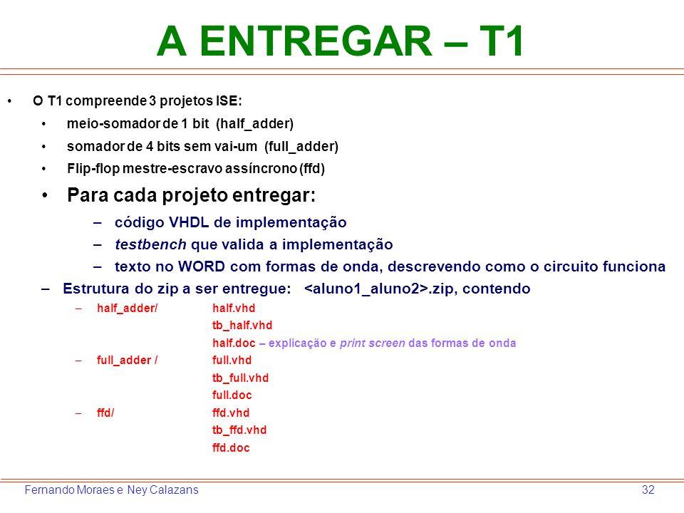 32Fernando Moraes e Ney Calazans A ENTREGAR – T1 O T1 compreende 3 projetos ISE: meio-somador de 1 bit (half_adder) somador de 4 bits sem vai-um (full