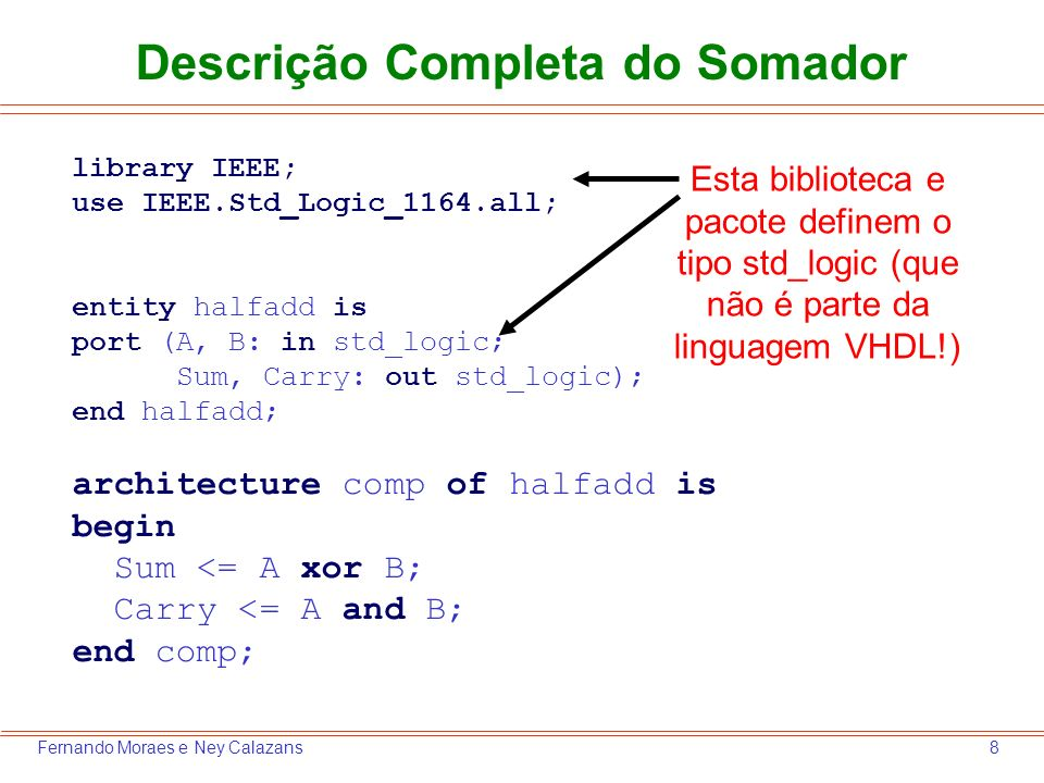 19Fernando Moraes e Ney Calazans O próximo passo é inserir no projeto os arquivos VHDL deste, que são: a descrição do somador (transparência 8) e o testbench (transparência 13) 6.