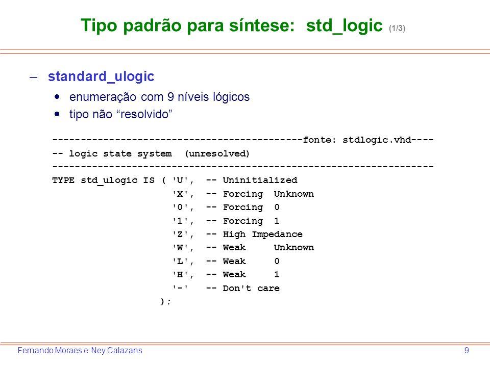 10Fernando Moraes e Ney Calazans Tipo padrão para síntese: std_logic (2/3) signal a, b, c : ; signal res_z : ; z <= a; z <= b; res_z <= a; res_z <= b; X .