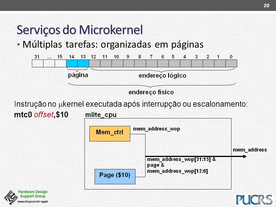 Serviços do Microkernel 20 Instrução no kernel executada após interrupção ou escalonamento: mtc0 offset,$10 Múltiplas tarefas: organizadas em páginas