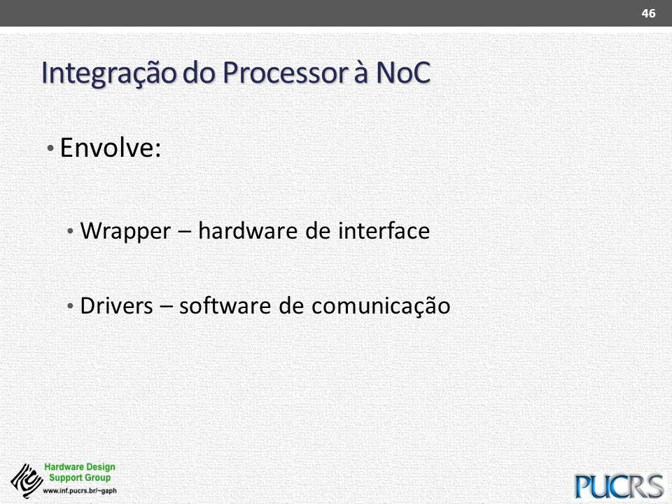 Integração do Processor à NoC Envolve: Wrapper – hardware de interface Drivers – software de comunicação 46