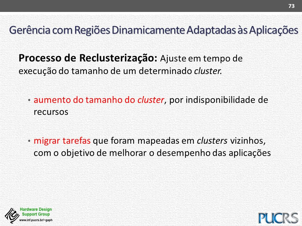 Gerência com Regiões Dinamicamente Adaptadas às Aplicações Processo de Reclusterização: Ajuste em tempo de execução do tamanho de um determinado clust