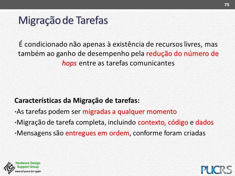 Migração de Tarefas 75 redução do número de hops É condicionado não apenas à existência de recursos livres, mas também ao ganho de desempenho pela red
