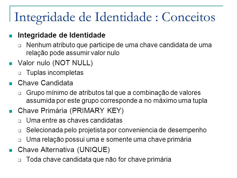 Integridade de Identidade : Conceitos Integridade de Identidade Nenhum atributo que participe de uma chave candidata de uma relação pode assumir valor