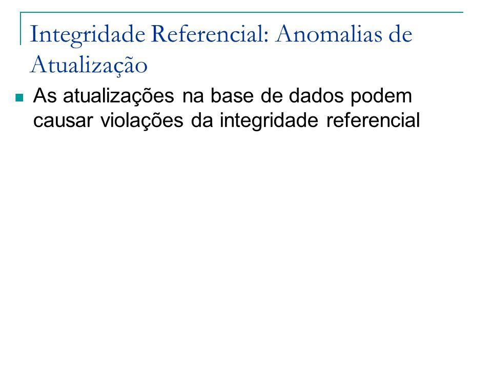 Integridade Referencial: Anomalias de Atualização As atualizações na base de dados podem causar violações da integridade referencial