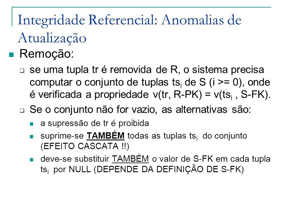 Integridade Referencial: Anomalias de Atualização Remoção: se uma tupla tr é removida de R, o sistema precisa computar o conjunto de tuplas ts i de S