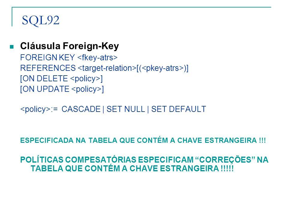 SQL92 Cláusula Foreign-Key FOREIGN KEY REFERENCES [( )] [ON DELETE ] [ON UPDATE ] := CASCADE | SET NULL | SET DEFAULT ESPECIFICADA NA TABELA QUE CONTÉ