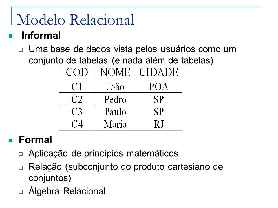 Integridade Referencial Chave Estrangeira: Forma de implementar relacionamentos/associações no modelo relacional Não necessariamente a chave estrangeira participa da chave primária da relação que a contém (S) Integridade Referencial: Se uma relação S inclui uma chave estrangeira S-FK equivalendo à chave primária R-PK de uma relação R, então todo valor S-FK em S deve ser : Igual ao valor de R-PK em alguma tupla de R Nulo