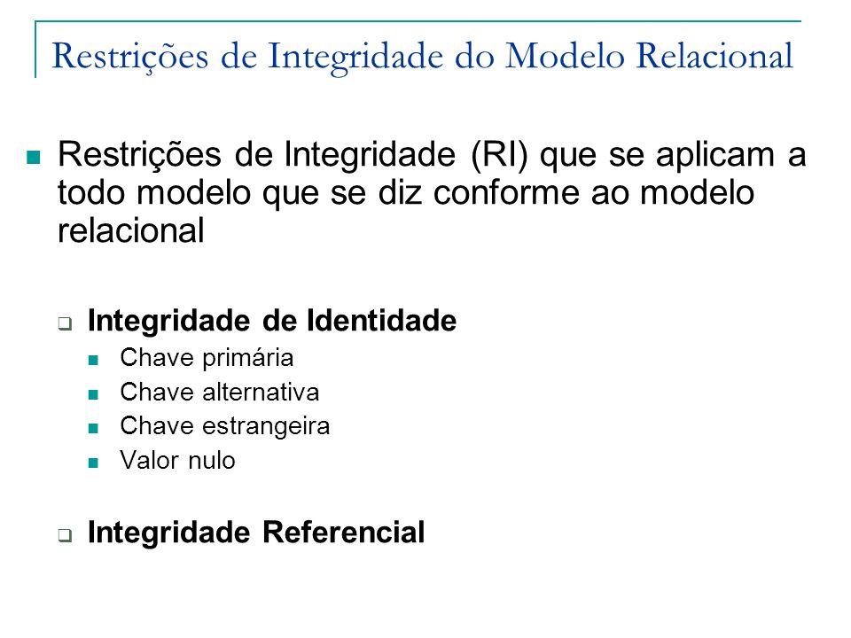 Restrições de Integridade do Modelo Relacional Restrições de Integridade (RI) que se aplicam a todo modelo que se diz conforme ao modelo relacional In