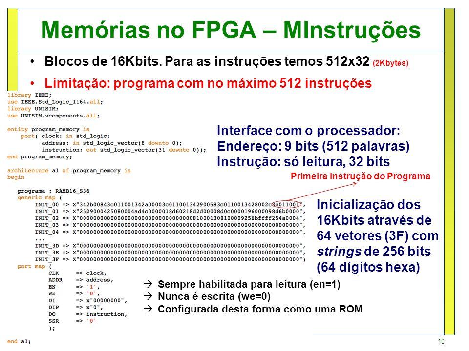 10 Fernando Moraes / Ney Calazans Memórias no FPGA – MInstruções Blocos de 16Kbits. Para as instruções temos 512x32 (2Kbytes) Limitação: programa com