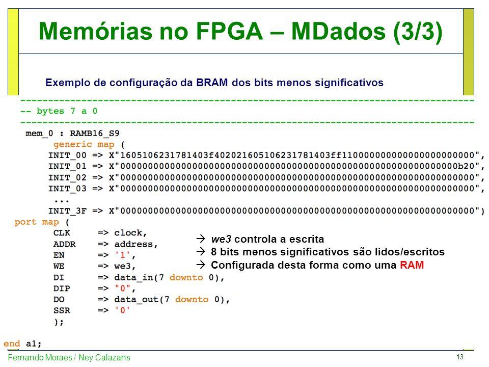 13 Fernando Moraes / Ney Calazans Memórias no FPGA – MDados (3/3) Exemplo de configuração da BRAM dos bits menos significativos we3 controla a escrita