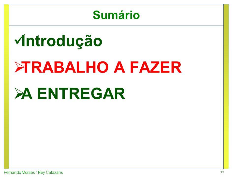 19 Fernando Moraes / Ney Calazans Sumário Introdução TRABALHO A FAZER A ENTREGAR