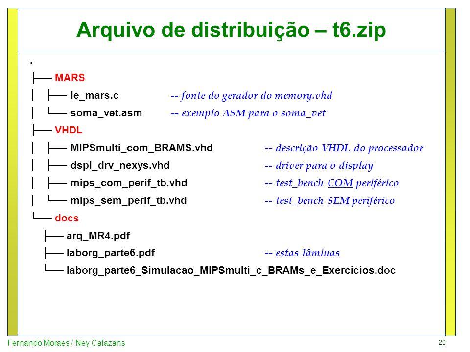 20 Fernando Moraes / Ney Calazans Arquivo de distribuição – t6.zip. MARS le_mars.c -- fonte do gerador do memory.vhd soma_vet.asm -- exemplo ASM para