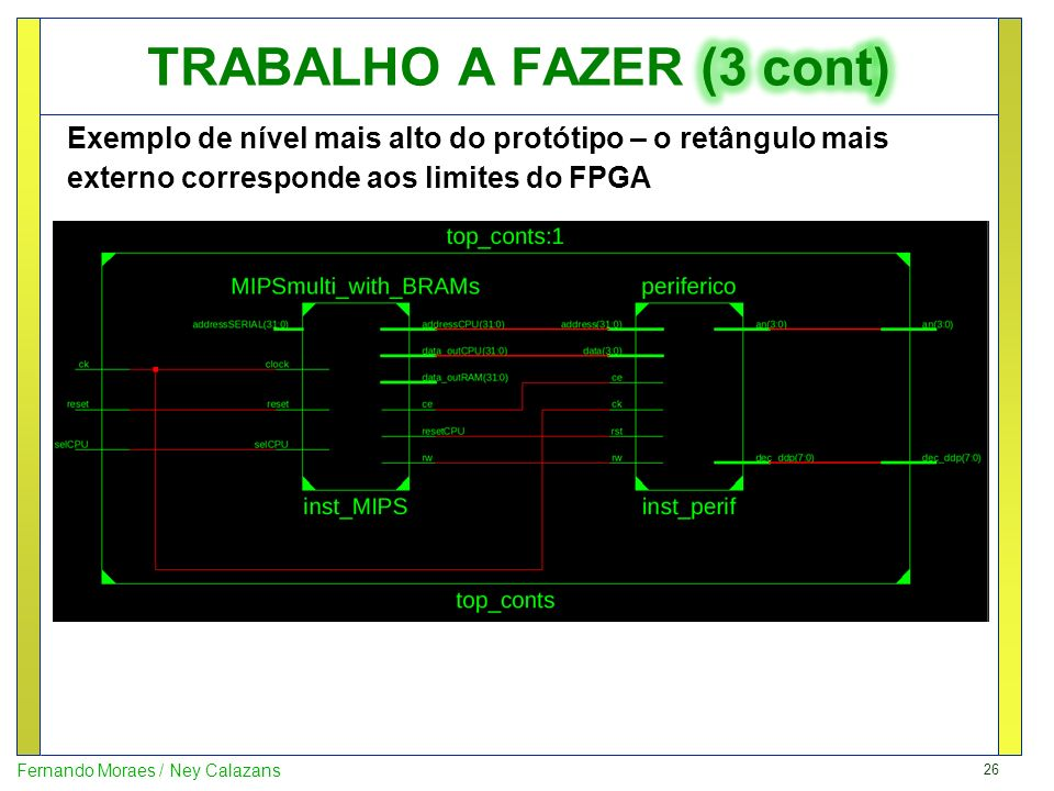 26 Fernando Moraes / Ney Calazans Exemplo de nível mais alto do protótipo – o retângulo mais externo corresponde aos limites do FPGA