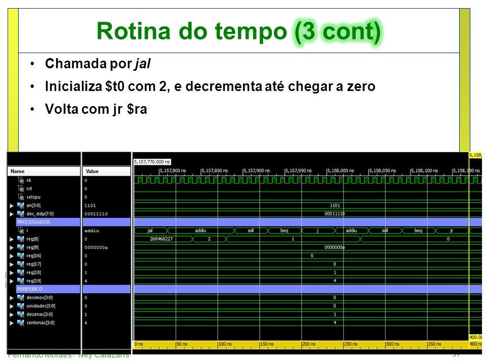 31 Fernando Moraes / Ney Calazans Chamada por jal Inicializa $t0 com 2, e decrementa até chegar a zero Volta com jr$ra