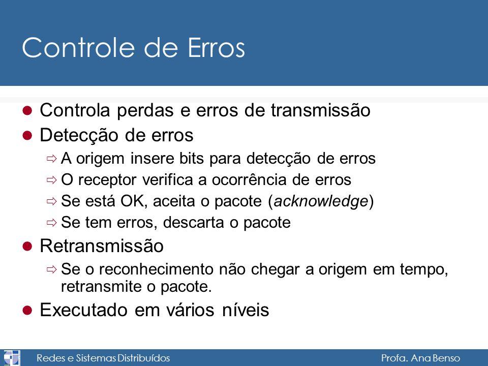 Redes e Sistemas Distribuídos Profa. Ana Benso Controle de Erros Controla perdas e erros de transmissão Detecção de erros A origem insere bits para de