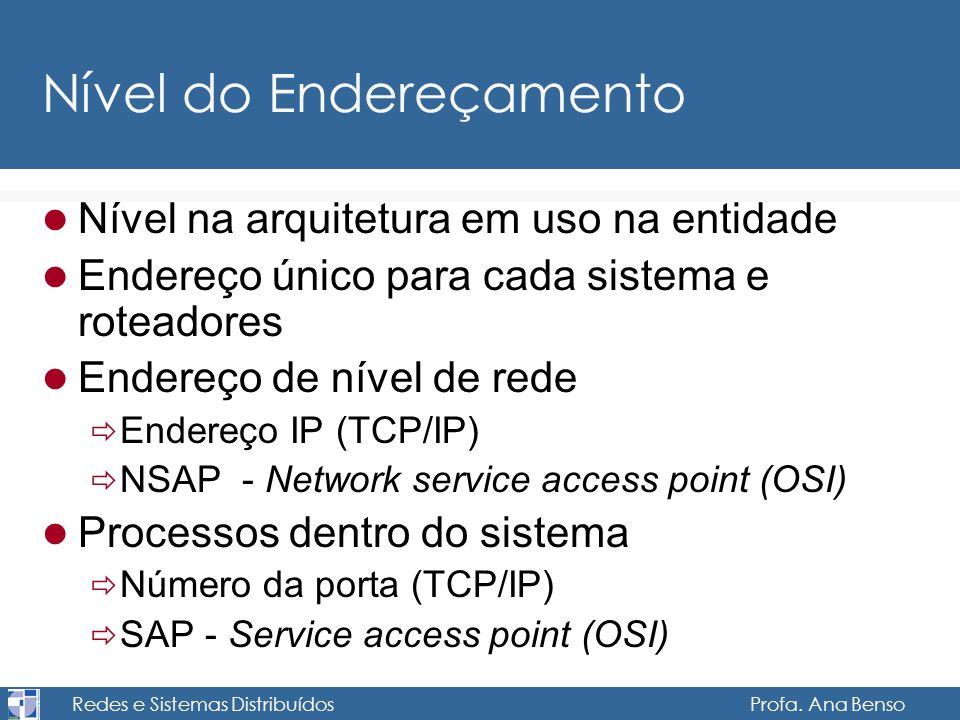Redes e Sistemas Distribuídos Profa. Ana Benso Nível do Endereçamento Nível na arquitetura em uso na entidade Endereço único para cada sistema e rotea