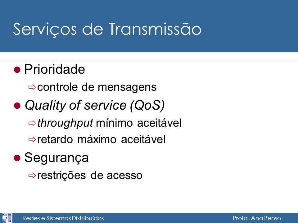 Redes e Sistemas Distribuídos Profa. Ana Benso Serviços de Transmissão Prioridade controle de mensagens Quality of service (QoS) throughput mínimo ace