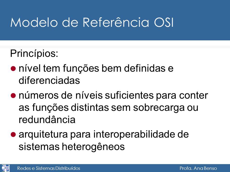 Redes e Sistemas Distribuídos Profa. Ana Benso Modelo de Referência OSI Princípios: nível tem funções bem definidas e diferenciadas números de níveis