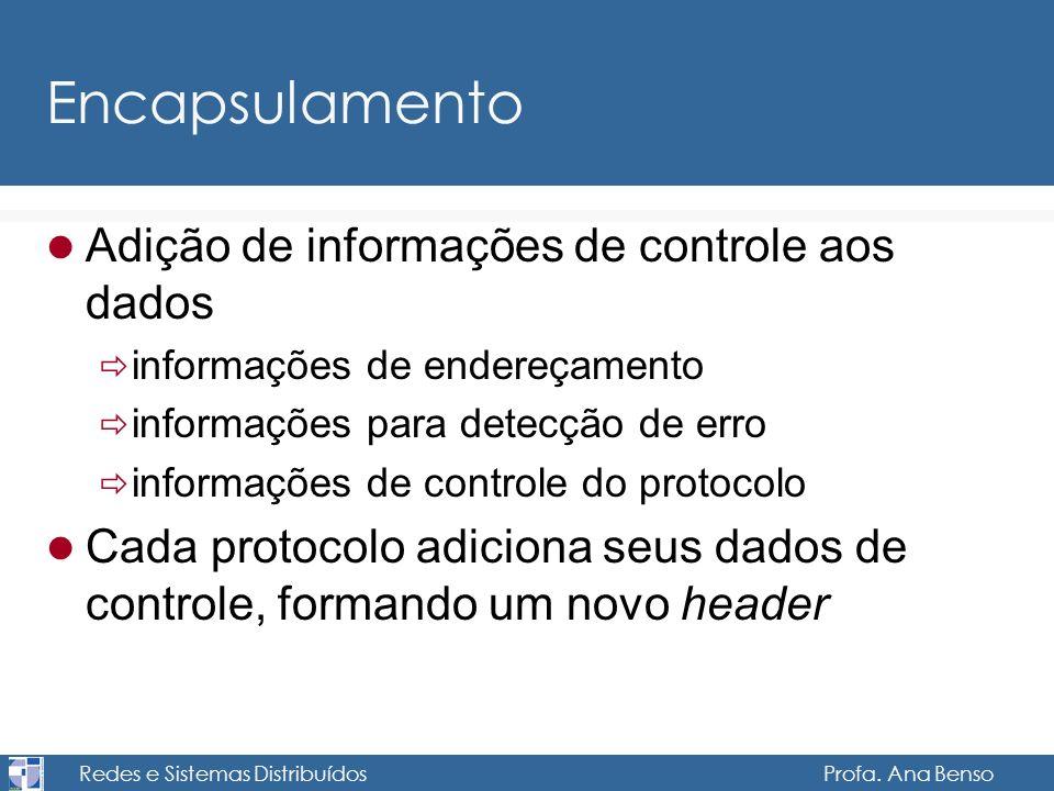 Redes e Sistemas Distribuídos Profa. Ana Benso Encapsulamento Adição de informações de controle aos dados informações de endereçamento informações par