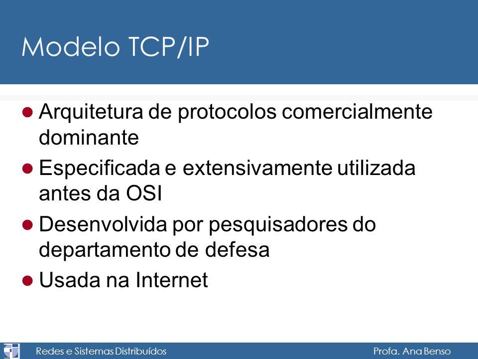 Redes e Sistemas Distribuídos Profa. Ana Benso Modelo TCP/IP Arquitetura de protocolos comercialmente dominante Especificada e extensivamente utilizad