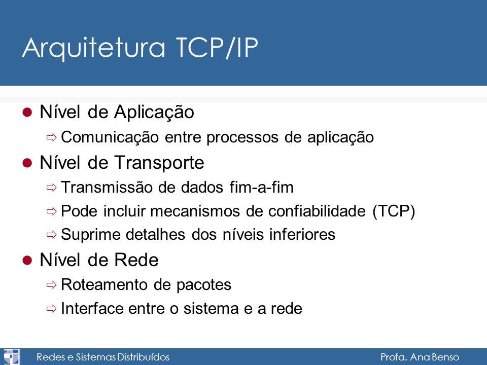 Redes e Sistemas Distribuídos Profa. Ana Benso Arquitetura TCP/IP Nível de Aplicação Comunicação entre processos de aplicação Nível de Transporte Tran