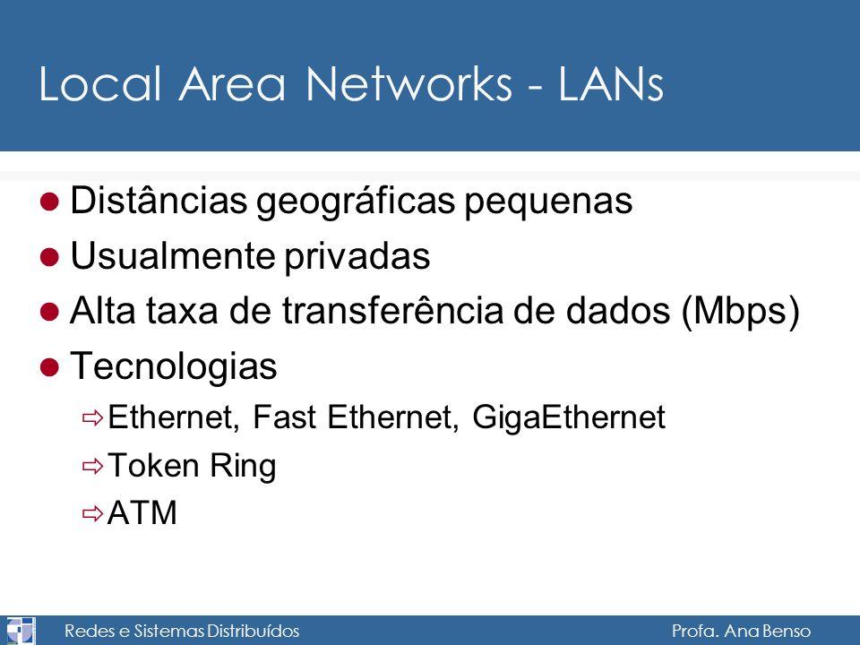 Redes e Sistemas Distribuídos Profa. Ana Benso Local Area Networks - LANs Distâncias geográficas pequenas Usualmente privadas Alta taxa de transferênc