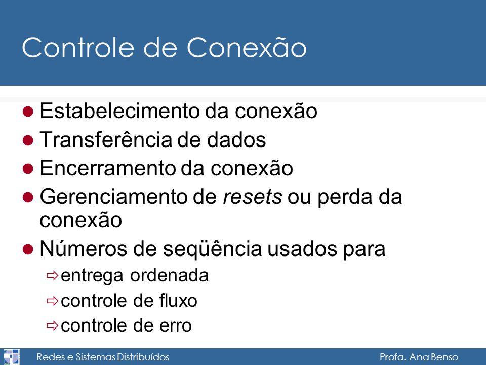 Redes e Sistemas Distribuídos Profa. Ana Benso Controle de Conexão Estabelecimento da conexão Transferência de dados Encerramento da conexão Gerenciam