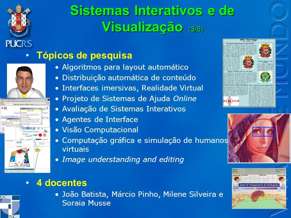Sistemas Interativos e de Visualização (3/6) Tópicos de pesquisa Algoritmos para layout automático Distribuição automática de conteúdo Interfaces imer
