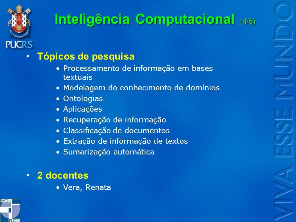 Inteligência Computacional (4/6) Tópicos de pesquisa Processamento de informação em bases textuais Modelagem do conhecimento de domínios Ontologias Ap