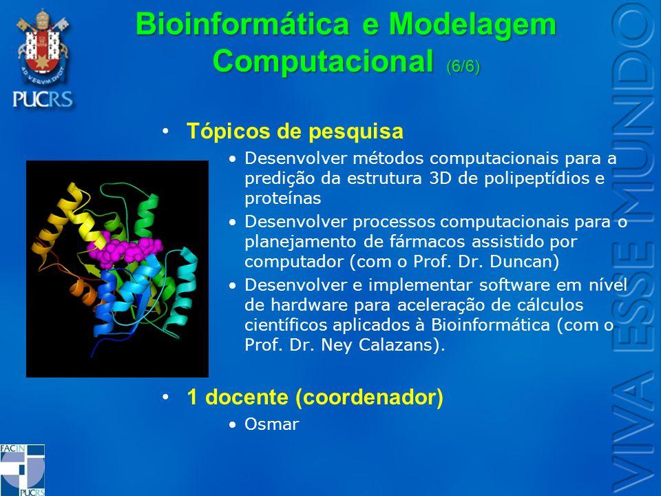 Bioinformática e Modelagem Computacional (6/6) Tópicos de pesquisa Desenvolver métodos computacionais para a predição da estrutura 3D de polipeptídios